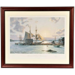 "John Stobart Colored Lithograph ""Sunset over the Westport River in 1862"""