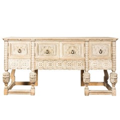 Carved Oak Long Sideboard
