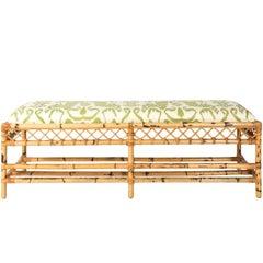 Midcentury Long Bamboo Bench