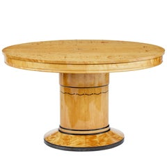 Art Deco Birch Inlaid Oval Center Table