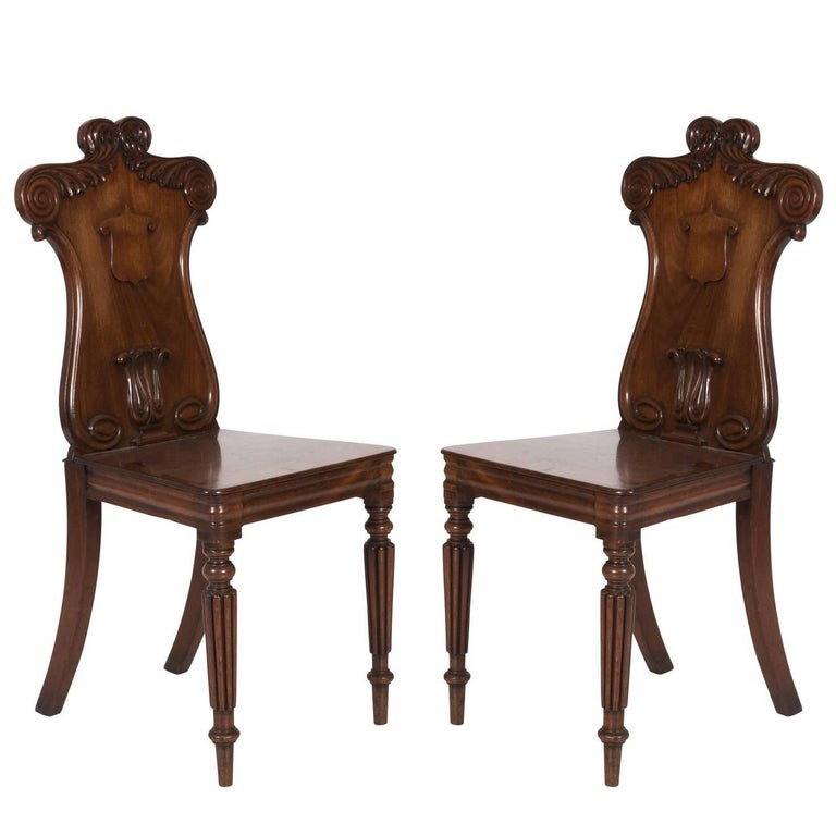 Pair of Mahogany Hall Chairs For Sale