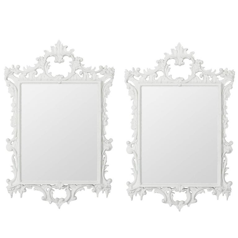 Pair of white painted rococo style mirrors for sale at 1stdibs for White baroque style mirror