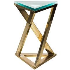 Brass Triangle Side Table, circa 1970