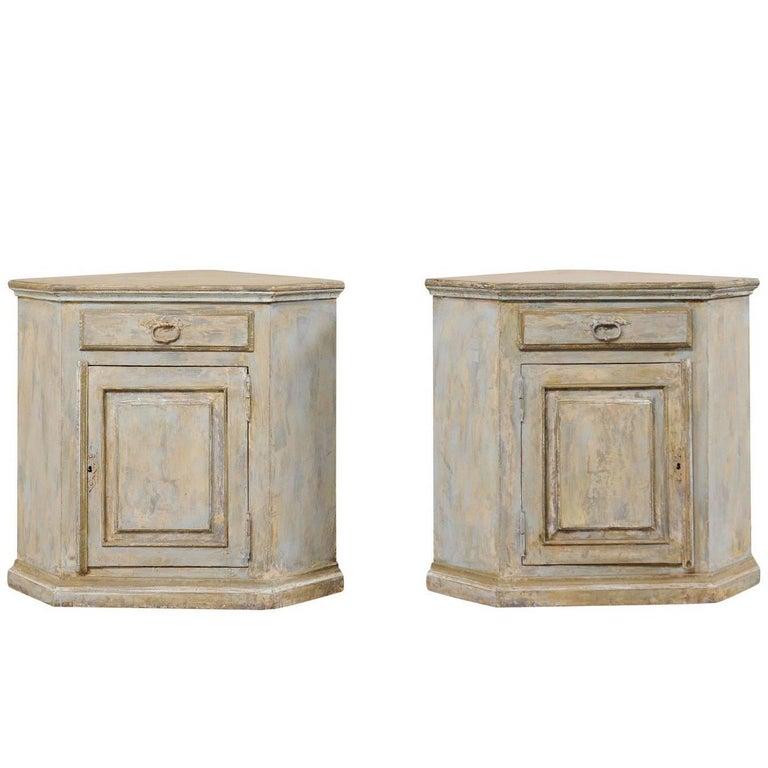 Pair of Vintage Brazilian Painted Wood Corner Cabinets in Soft Beige & Blue-Grey