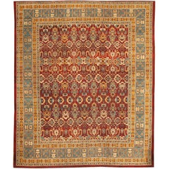 Red Room Size Antique Indian Amritsar Rug . Size: 10 ft 7 in x 12 ft 11 in