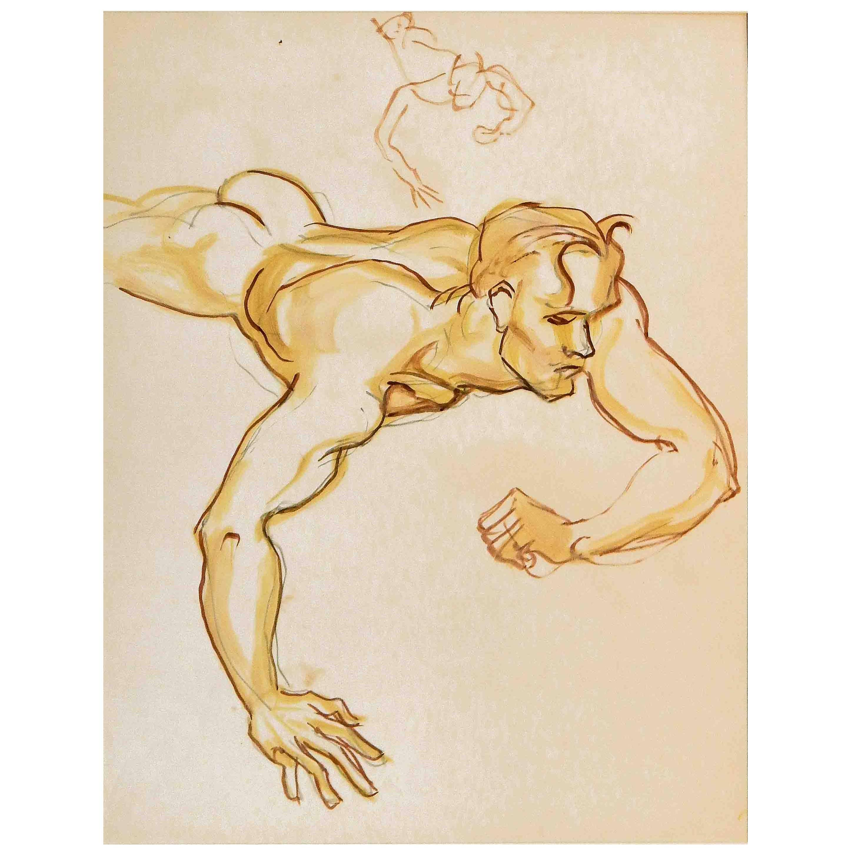 """""""Study for Icarus,"""" Drawing by Emlen Etting, 1940s"""