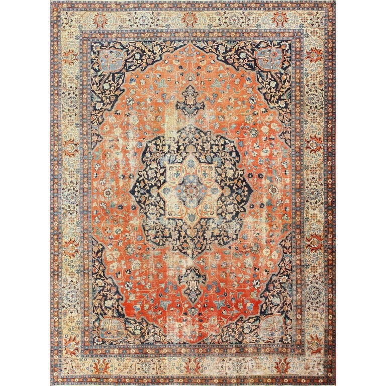 Beautiful Shabby Chic Antique Persian Tabriz Rug