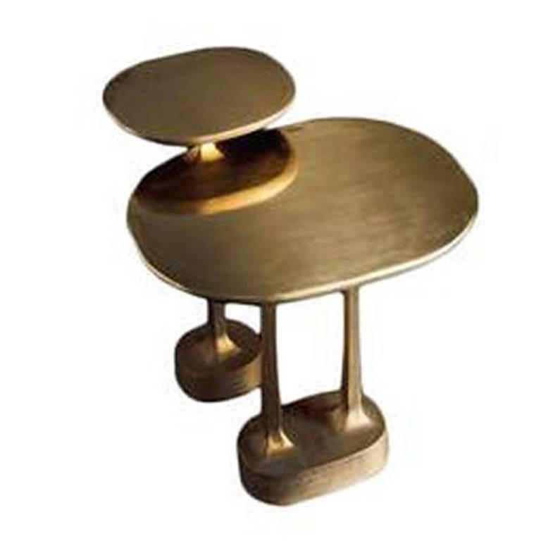 Peachy Mushroom Tables In Brass Finish Interior Design Ideas Clesiryabchikinfo