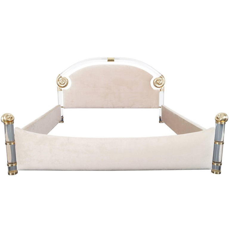 Exceptional Lucite and Brass King-Sized Bed by Marcello Mioni For Sale