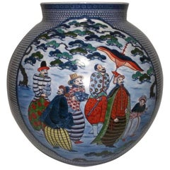 Imari Hand-Painted Large Blue Japanese Porcelain Vase by Master Artist, 2018
