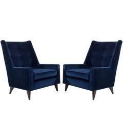Harvey Probber Lounge Chairs in Navy Velvet