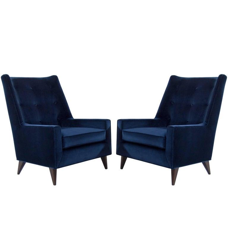 Harvey Probber Lounge Chairs in Navy Velvet