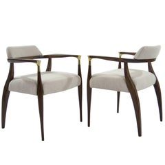 Modern Brass-Accented Walnut Armchairs
