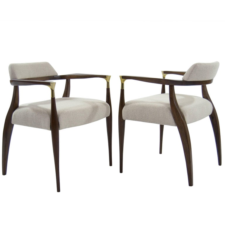 Modern Brass-Accented Walnut Armchairs For Sale