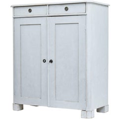 19th Century Swedish Painted Pine White Cupboard