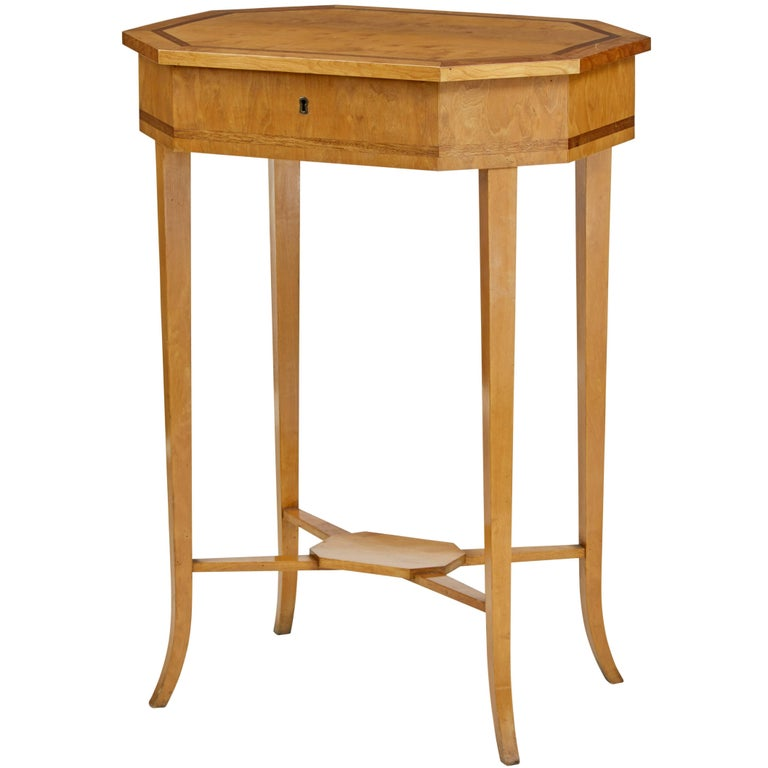 Early 20th Century Octagonal Birch Work Table For Sale