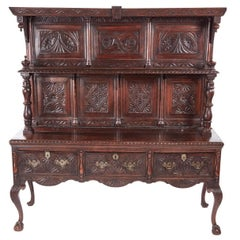 Fantastic Antique Carved Oak Dresser