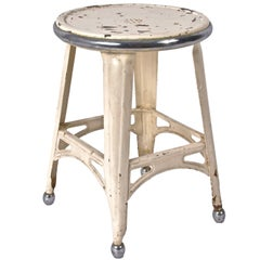 Industrial Style French Stool, in Painted Iron and Chromed Steel, 1940s, France