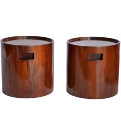 Jorge Zalszupin Cylindrical Brazilian Modern Side Tables in Jacaranda Wood