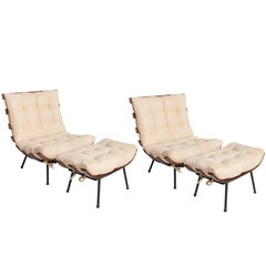 Martin Eisler and Carlo Hauner Costela or 'Rib' Chairs with Ottomans
