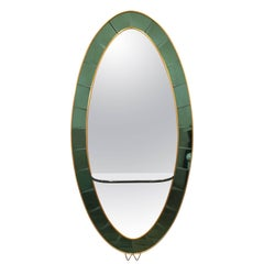 Cristal Art Green Console Mirror, 1950s
