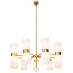 Brass and Opaline Glass Chandelier by Hans Agne Jakobsson
