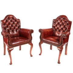 Outstanding Quality Pair of Antique Leather Buttoned Back Library Chairs