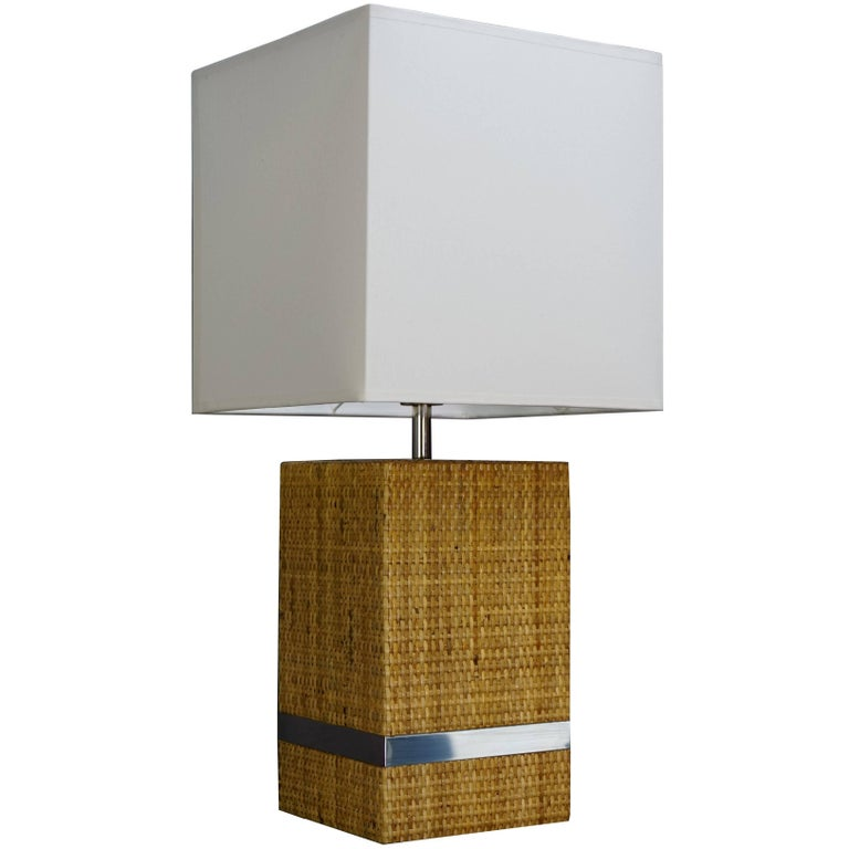 Midcentury Table Lamp with Shade, Cane