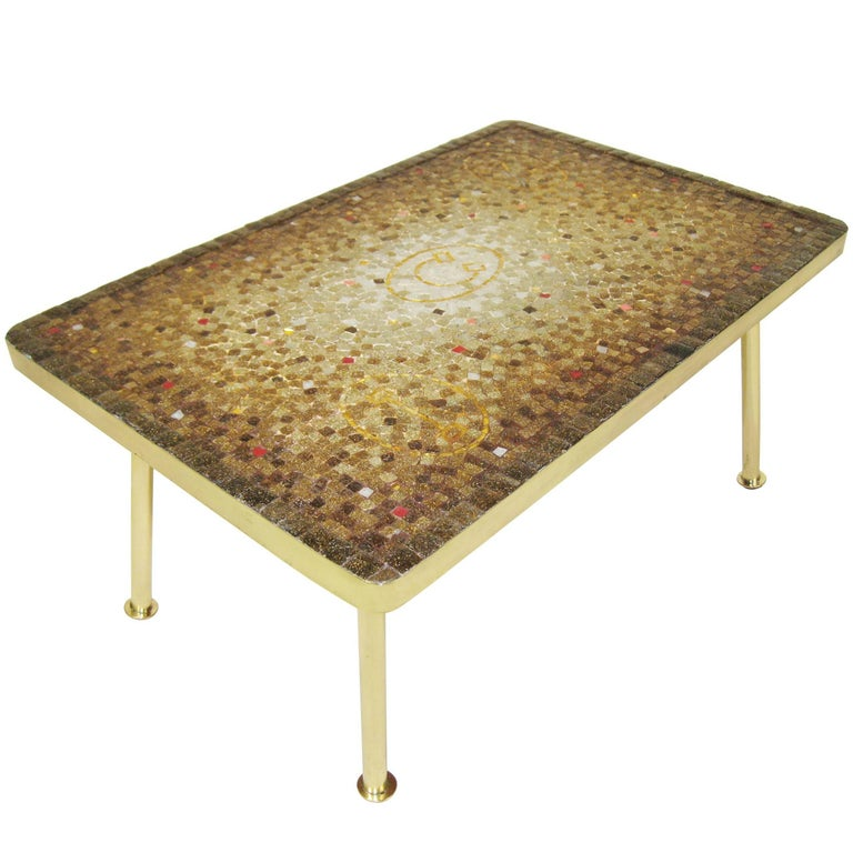 Mosaic Tile, Bronze Midcentury Coffee Table, Genaro Alvarez, Mexico City, 1950 1