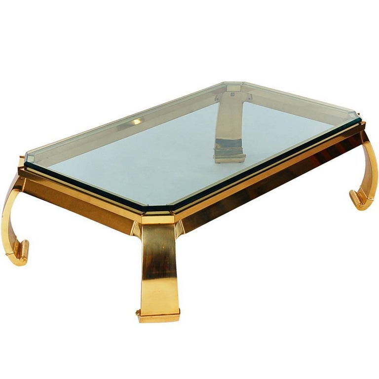 Hollywood Regency Italian Brass and Glass Cocktail Table by Mastercraft For Sale