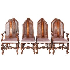 Fine Set of Eight Antique Burr Walnut Dining Chairs