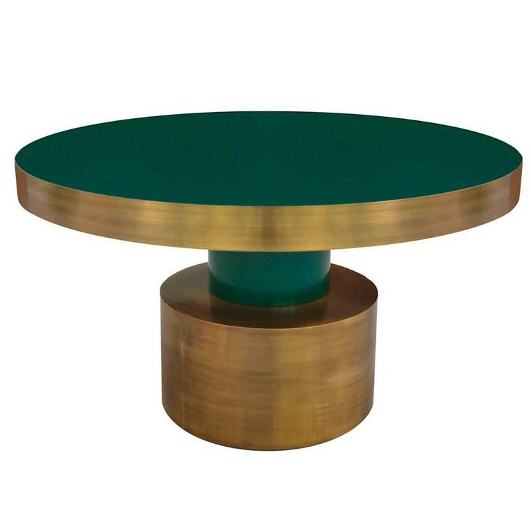 Antique Brass and Emerald Green Lacquered Wood Dining Table Rio For Sale