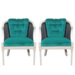Modern Pair of Black Cane and Bleached Wood Lounge Chairs in Tufted Teal Velvet
