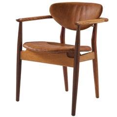 Finn Juhl FJ55 Armchair in Original Cognac Leather
