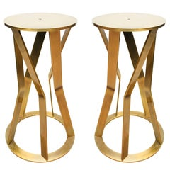 Pair of 1980s Italian Pedestals in Bronze in the Taste of Ettore Sottsass