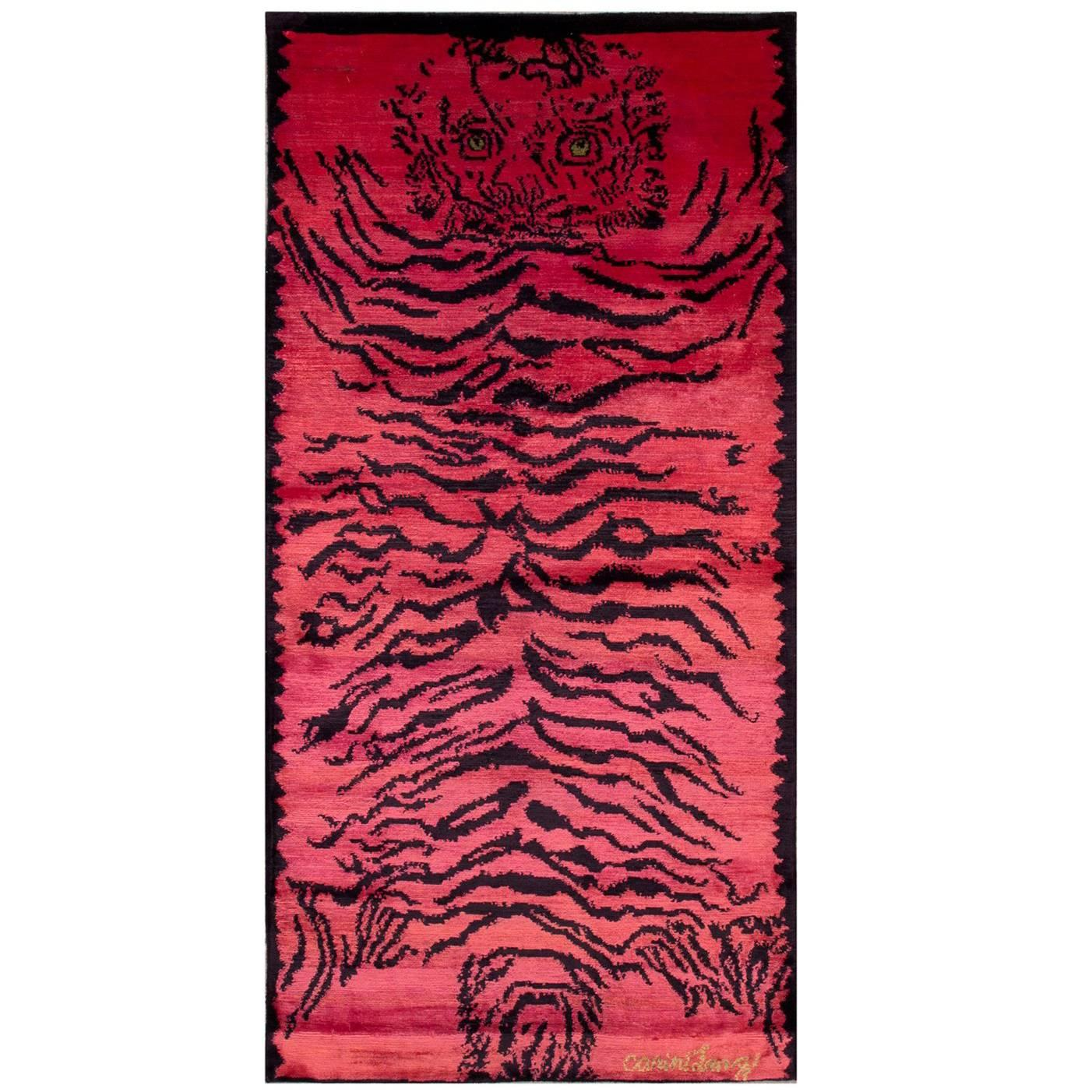 Pink Silk Tiger Area Rug