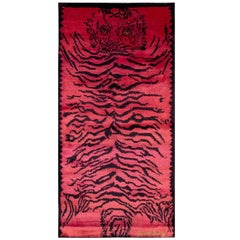 Pink Silk Tiger Area Rug