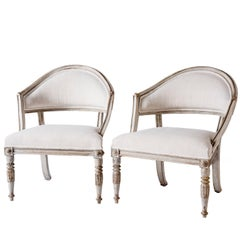 Pair of Swedish Gustavian Style Barrel Back Chairs, circa 1850
