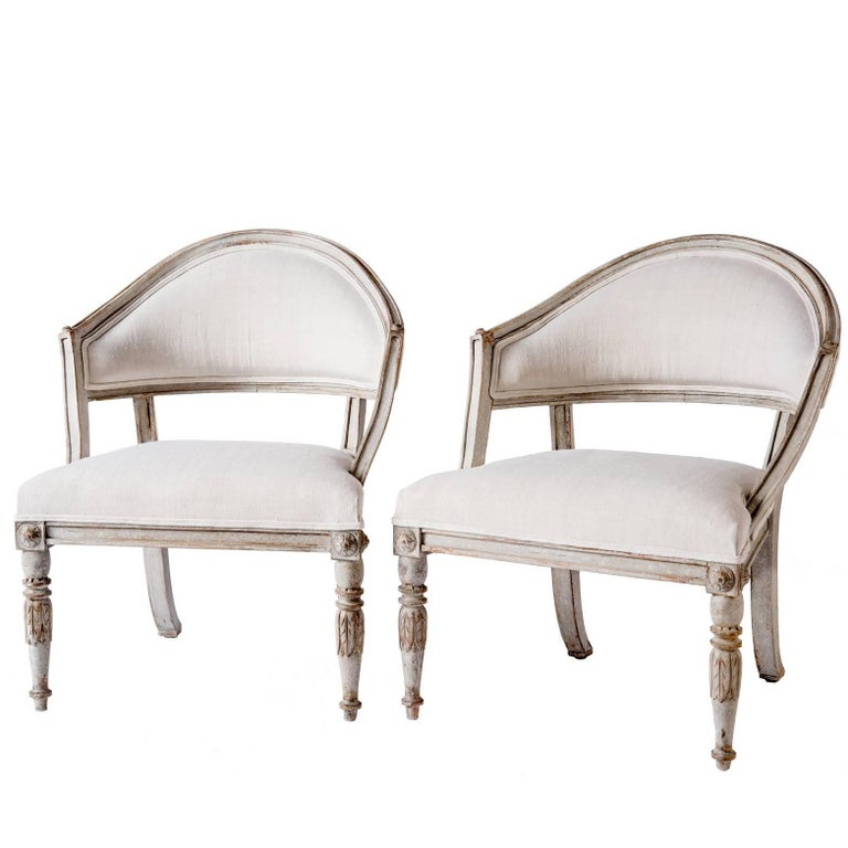 Pair of Swedish Gustavian Style Barrel Back Chairs, circa 1850 For Sale
