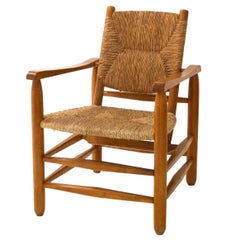 'Paille' Armchair by Charlotte Perriand, Solid Wood and Straw, 1935, France