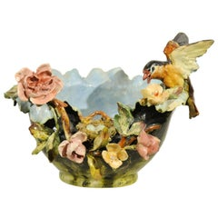 19th Century French Barbotine Covered Bowl with Bird and Bird Nest Décor