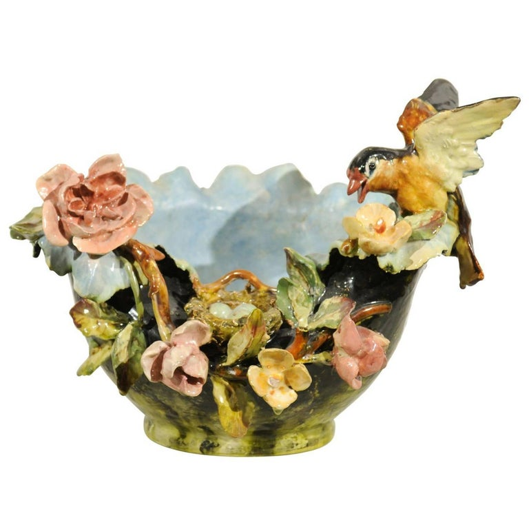 19th Century French Barbotine Covered Bowl with Bird and Bird Nest Décor For Sale