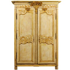 French Mid-18th Century Transition Painted Armoire with Floral Carved Cornice