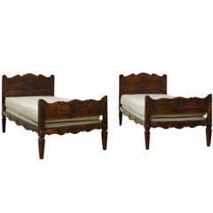 Pair of French 19th Century Walnut Twin Beds with Carved Headboard and Footboard