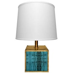 1970s Brass Cube Table Lamp with Turquoise Plexi Inserts