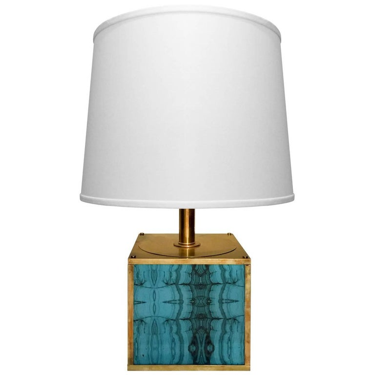 1970s Brass Cube Table Lamp with Turquoise Plexi Inserts For Sale
