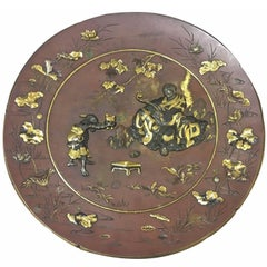 Spectacular 19th Century Japanese Bronze Plates, Meiji Period