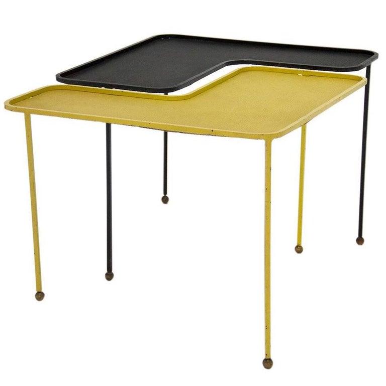 Pair of Domino Table by Mathieu Matégot Black & Yellow Metal, circa 1950, France
