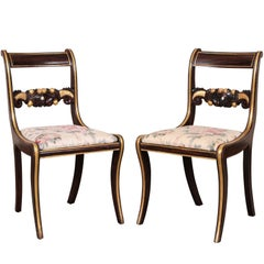 Pair of English Regency Classical Paint Decorated Side Chairs