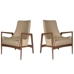 Pair of Warren Walnut Lounge Chairs
